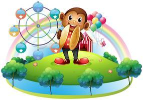 Een aap met een reuzenrad en ballonnen aan de achterkant