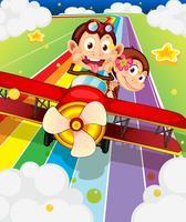 Twee apen die in een vliegtuig berijden vector