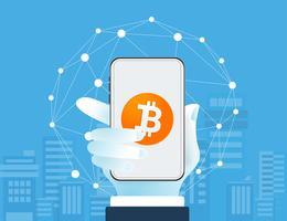 Bitcoin cryptocurrency Portefeuille met blockchain. geldloze samenleving.