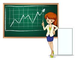 Een vrouw voor het schoolbord