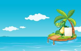 Een alligator die een lege banner houdt