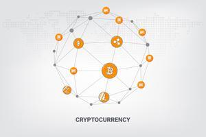 Digitale geld cryptocurrency blockchain netwerktechnologie online geometrische achtergrond. vector illustratie.