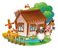 Dieren en huisje