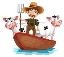 Een boot met een man en twee koeien