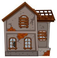 Oud huis met gebroken ramen
