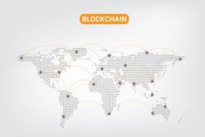 Abstracte digitale geld crypto valuta blockchain netwerktechnologie op wereldkaart achtergrond. vector illustratie.