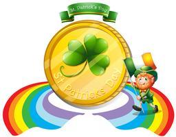 Een grote gouden munt voor St. Patrick's day