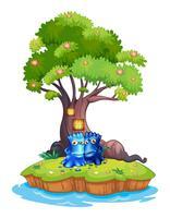 Twee monsters in de buurt van de boomhut op het eiland