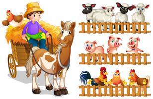 Boer op wagen en dieren zien hek