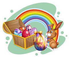 Paashaas en kist vol eieren