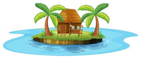 Een kleine nipahut op een eiland