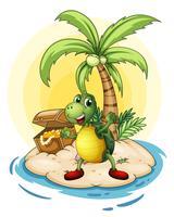 Een schildpad met een schat aan de achterkant op een klein eiland
