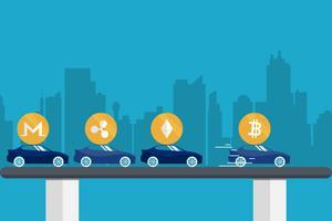 Bitcoin cryptocurrency groei hogere prijs. vector