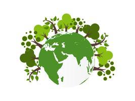 Save Earth Planet World Concept. Wereld milieu dag concept. ecologie milieuvriendelijk concept. Groene natuurlijke blad en boom op aarde wereld .. vector