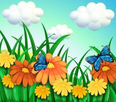Een heuvel met een tuin met verse bloemen vector