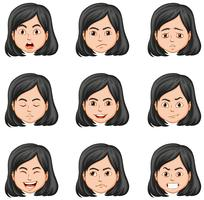 Vrouw en verschillende gezichtsuitdrukkingen vector