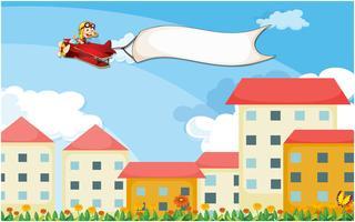 Een vliegtuig boven de huizen met een lege banner