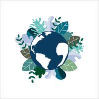 Red Earth Planet. Wereld milieu dag concept. ecologie milieuvriendelijk. Natuurlijk groen verlof op aardebol. vector