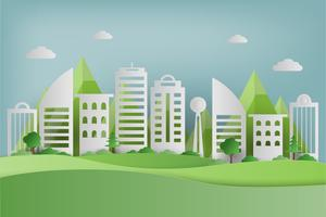 Papierkunst van groen gras en park op stedelijke stad. origami concept en ecologie idee. vector