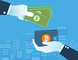 Dollars wisselen Bitcoin cryptocurrency uit. Digitaal geld uitwisseling concept. geldloze samenleving. vector