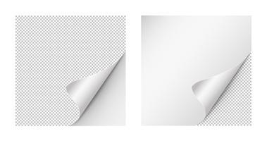 Papieren gekrulde hoeken voor reclame en verkooppromo. papier met krullenhoek voor boek en brochure met transparante achtergrond. vector