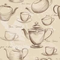 Cup, pot, waterkoker naadloze patroon. Theetijd warme dranken achtergrond
