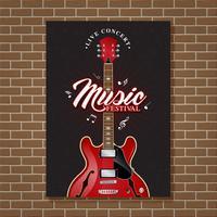 Gitaar jazz muziek festival poster ontwerpsjabloon vectorillustratie