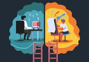 menselijke hersenhelft met getallen en schilderkunst vector