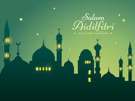 Ramadan achtergrond met silhouet moskee