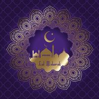 Decoratieve Eid Mubarak-achtergrond met moskeesilhouet