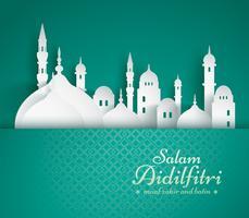 Papierafbeelding van de islamitische moskee vector