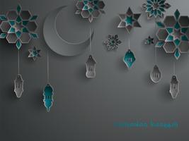 Papieren afbeelding van islamitische decoratie vector
