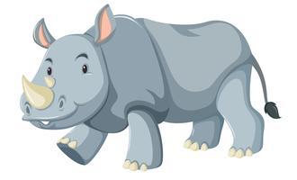 Een rinoceroskarakter op witte achtergrond