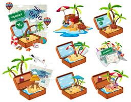 Set van strand in de reisbagage