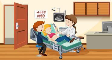 Paar echografie in het ziekenhuis