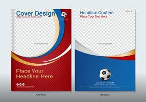 Cover boek ontwerpsjabloon met ruimte voor sportevenement.
