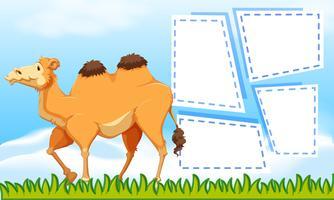 Een kameel op lege nota vector