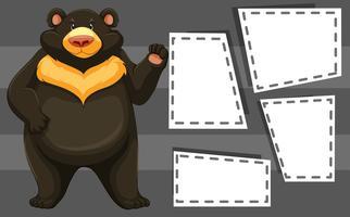 Een beer op lege sjabloon vector