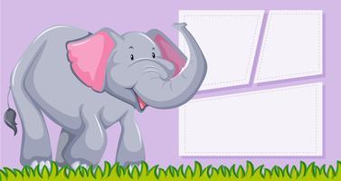 Een olifant op lege sjabloon vector