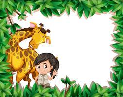 Een meisje met giraf op aardframe vector