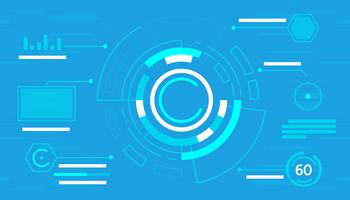 Blauwe abstracte technologie-interface hud vector