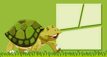 Een schildpad op lege nota