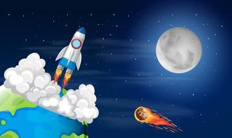 Roacket-lancering vanaf de aarde