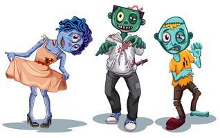 Set van zombie karakter vector