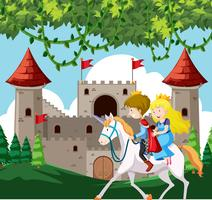 Prins en prinses op een paard
