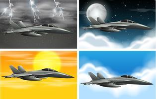Set van legervliegtuig op verschillende weer vector