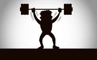 Een silhouet van gewichtheffen
