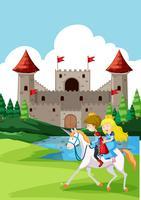 Prins en prinses rijdend paard