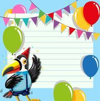 Toucan op verjaardagssjabloon