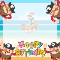 schattige piraten cartoon verjaardag achtergrond vector